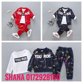 Boy Long Sleeved Sweater Shirt with Pant Three-Pieces Boy Set