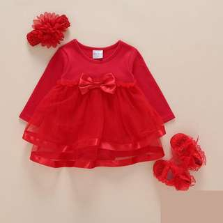 🦁Instock - red romper dress, baby infant toddler girl children sweet kid happy abcdefg