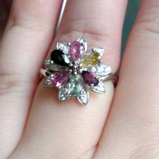🍀Natural Pink Green and Yellow Teardrops Spinning Flower Wheel Tourmaline 碧玺 Ring🍀