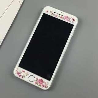 現貨 可愛玫瑰Hello kitty 鋼化膜iphone 7/8