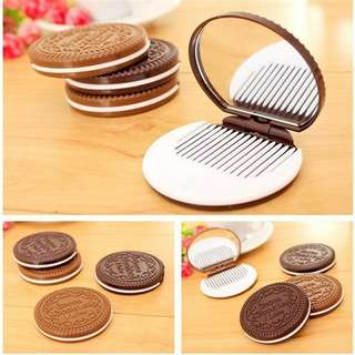 CERMIN SISIR OREO MINI CUTE POCKET COMB MIRROR