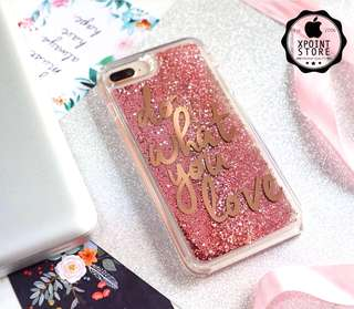 Do What You Love Rose Gold Glitter Pearls iPhone Case Cover