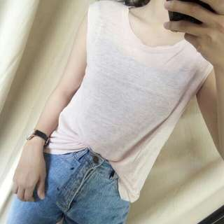 Sleeveless top peach baju pendek