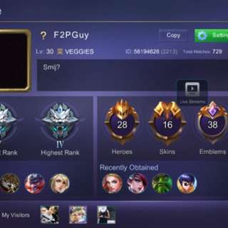 Mobile Legends Account active