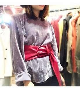 韓國製超薄絲絨粉紫色上衣(不連belt)