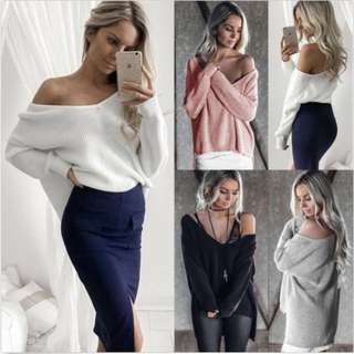 Long Sleeve Asym Tops Off Shoulder Baggy Casual Knitted Sweater Jumper