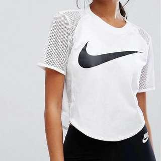 [降價]Nike白色短版上衣後網紗拼接