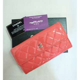 80% New CHANEL A50096 橙粉紅色 漆皮 銀色 CC Logo 長銀包 Orange Pink Patent Long Wallet with Silver CC Logo