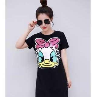 PO-Daisy Duck long shirt - black