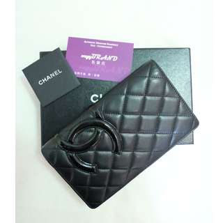 80% New CHANEL Classic A26717 Cambon 黑色 羊皮 黑色 CC Logo 長銀包 Lambskin Long Wallet in Black CC Logo