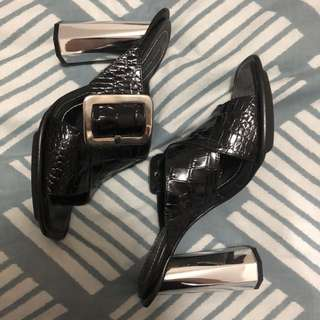 Zara leather mules shoes silver heel black shoe
