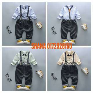 Stylish Shirt & Suspender Stripe Trousers 2-Piece Set