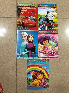 Children Books sticker colouring Pooh Dora cars frozen Thomas train