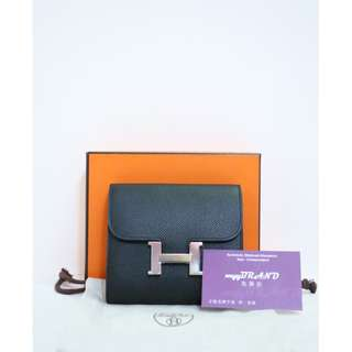 HERMES Constance CK89 Epsom Noir 黑色 Noir H Logo 銀扣 錢包 銀包 Black Compact Wallet with Silver Hardware