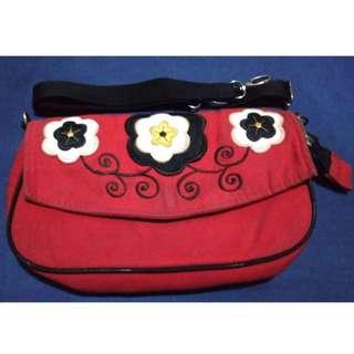 Tas selempang merah,  sling bag red flower