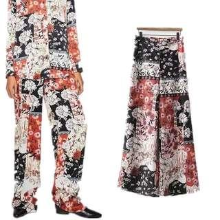 2018 European Station Fashion Flower Geometric Print Wide Leg Casual Pants