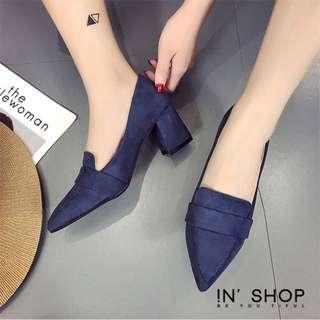 🚚 全新✨ IN'Shop絨質簡約素面尖頭高跟鞋