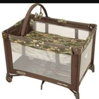 Graco Pack N Play Playpen brown green FREE Babysafe Mattress!