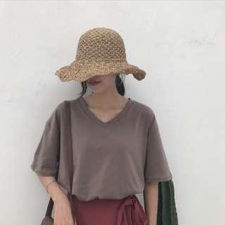 khaki brown v-neck top