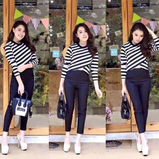 Chic stripe top and pants; shop to fashion