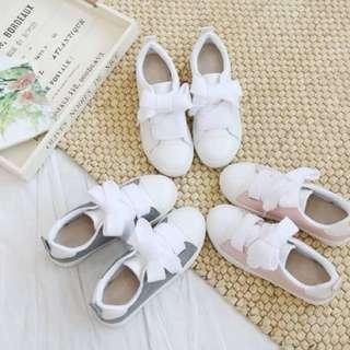 棉花糖休閒緞帶鞋 蝴蝶結可愛綁帶