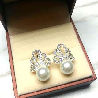 日本高貴閃亮水晶珍珠耳環 Japanese Noble Shiny Crystal Pearl Earrings