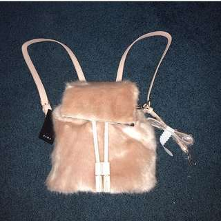 Light pink fur mini backpack