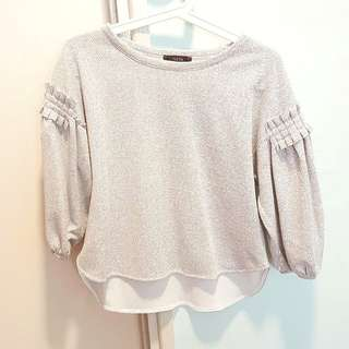 White Top Blouse Bubble Sleeves