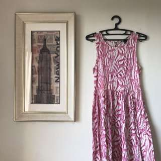 H&M cotton zebra pink drss