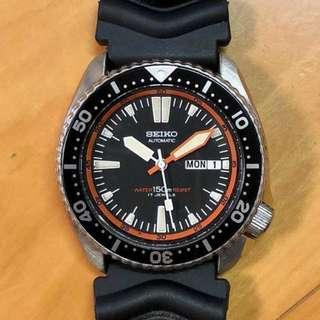 70's SEIKO 七十年代 精工錶 AUTOMATIC 潛水機械自動錶 Water 150m Resist 超罕 橙紅圈 17石 17Jewels