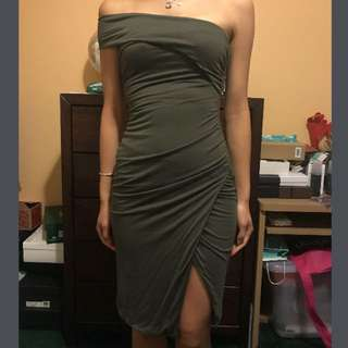 Khaki off shoulder dress size 6