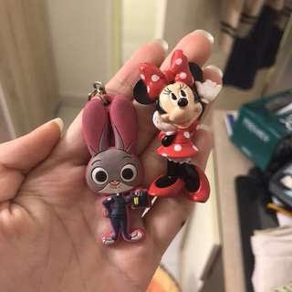 Minnie mouse and judy hopps (zootopia) keyrings
