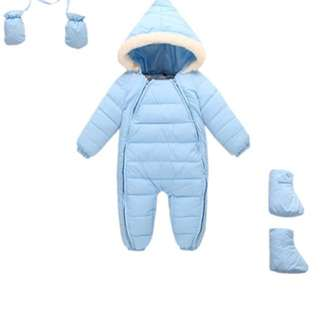 3 Piece Baby Long sleeve Snowsuit Winter Romper Jumpsuit Blue
