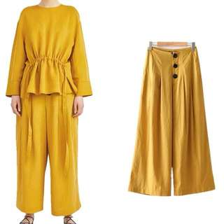 Inspired Zara Pleated Trousers With Buttons High Waist Trouser