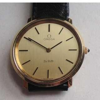 OMEGA DE VILLE・奧米加・蝶飛紳士型・機械手動上鍊包金皮帶錶