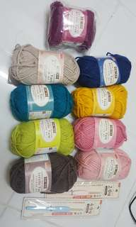 Acrylic yarns with crochet hook bundle
