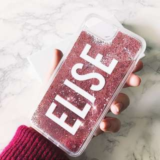 Customised Name Initial Rose Gold Glitter Pearl iPhone Case