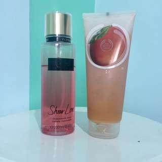 Victoria secret fragance mist & body shop body sorbet