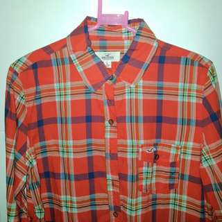 Hollister Red Plaid Polo (L)
