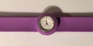 Purple snap band bracelet/ watch