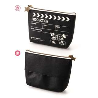 Japan Disney Mickey Minnie Mouse Clapperboard Cosmetic Pouch with Tissue Holder