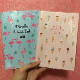 Flamingo or ice cream 2018 2019 b6 schedule book planner diary journal agenda