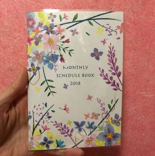 Watercolor floral foliage 2018 2019 B6 schedule book planner diary journal agenda