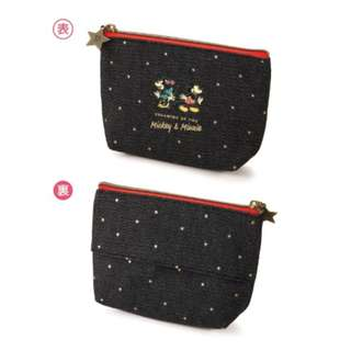Japan Disney Mickey Minnie Mouse Star Cosmetic Pouch with Tissue Holder
