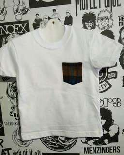 T-shirt white with pocket brown kids