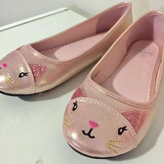 Pink glittery cat ballerina flats ✨