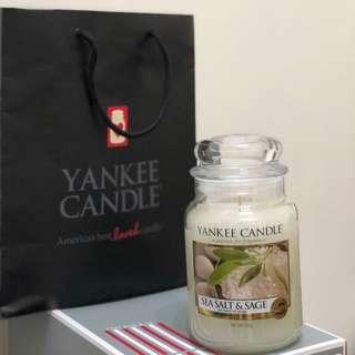 Yankee Candle香氛蠟燭22oz海鹽與鼠尾草