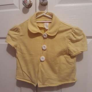Yellow Supre Crop Button Jacket