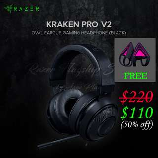 [50% OFF + Freebies!] Razer Kraken Pro V2 (Black)