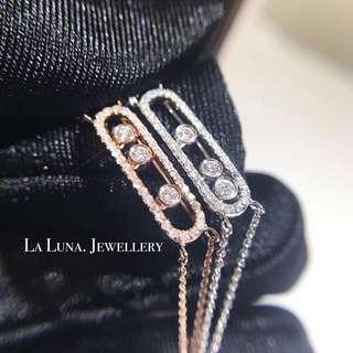 流動鑽石手鏈18k白金玫瑰金永不褪色手鏈手鐲💎全新特別設計